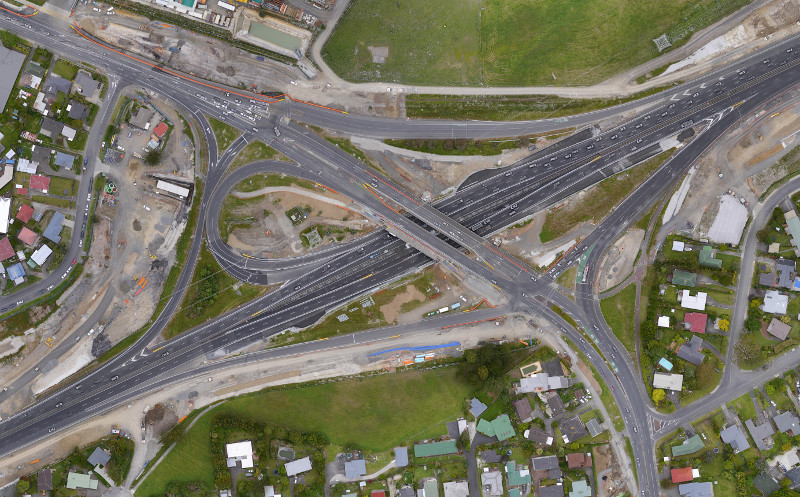 Orthophoto of a large motorway interchange upgrade in progress