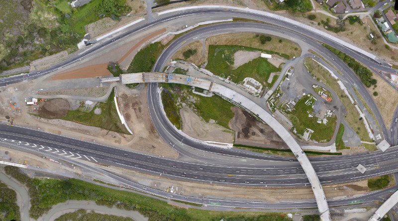 Orthophoto of motorway overbridges under construction
